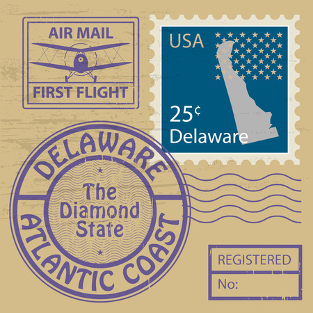 Grunge rubber stamp with name of Delaware Vector