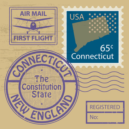 Grunge rubber stamp with name of Connecticut Vector