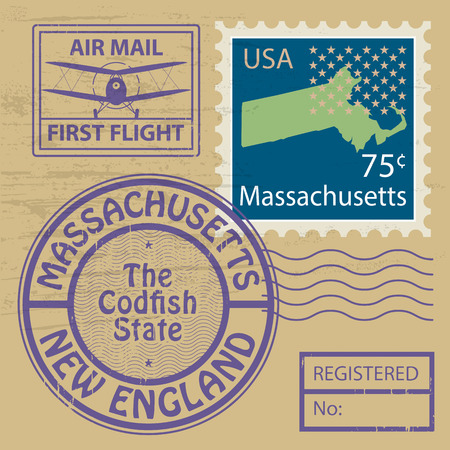 Grunge rubber stamp set with name of Massachusetts Vector