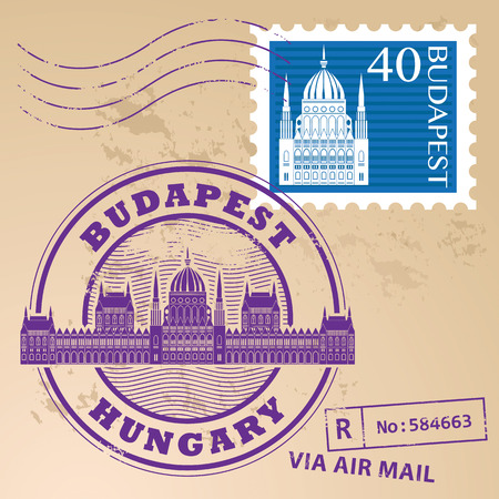 emigration: Grunge rubber stamp set with words Budapest, Hungary inside