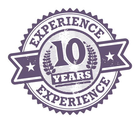 Grunge rubber stamp with the text 10 Years Experience written inside Vector