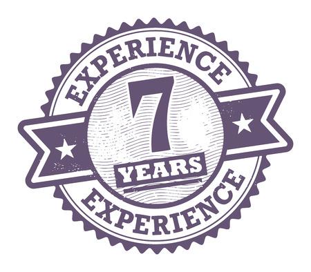 경험: 7 년의 경험 안에 기록 된 텍스트로 grunge 고무 스탬프