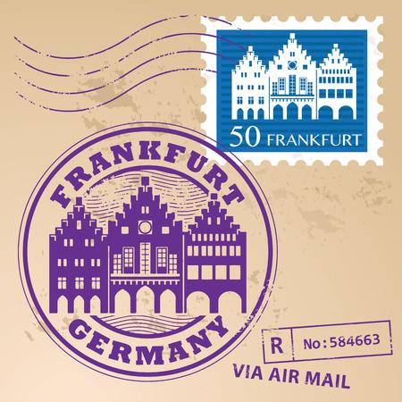 Grunge rubber stamp set with words Frankfurt, Germany inside Vector