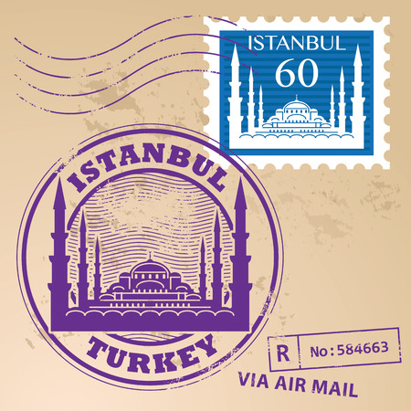 Grunge rubber stamp set with words Istanbul, Turkey inside Vector