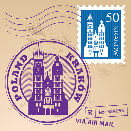 Grunge rubber stamp set with words Krakow, Poland inside