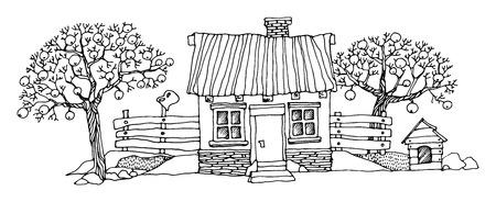 Cartoon hand drawing houses Ilustrace
