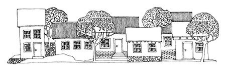 village house: Cartoon hand drawing houses Illustration
