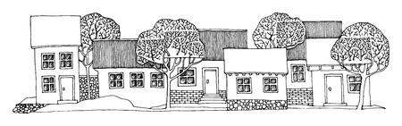 village house: Cartoon hand drawing houses Illustration