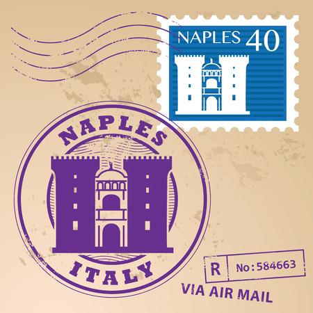 naples: Grunge rubber stamp set with words Naples, Italy inside Illustration