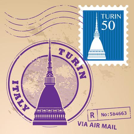Grunge timbro di gomma regolato con parole Torino, Italia all'interno