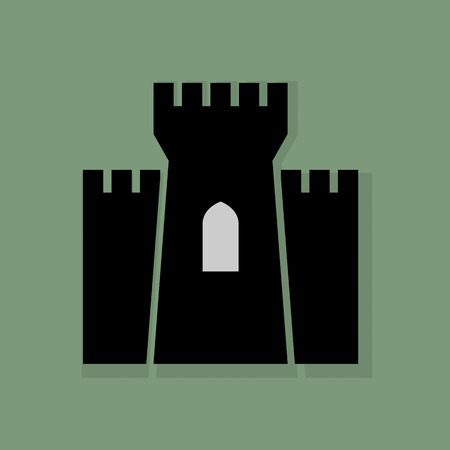 fortification: Castle icon or sign Illustration