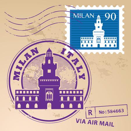 Grunge rubberen stempel set met woorden Milaan, Italië binnen