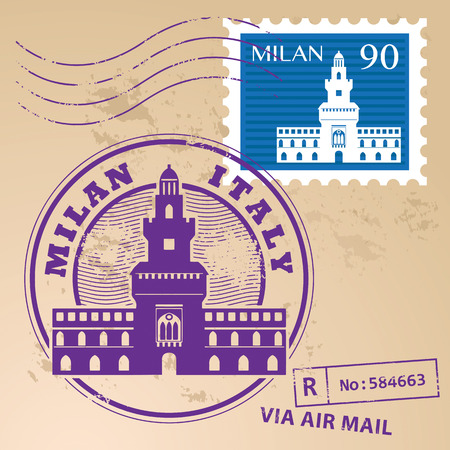 cath�drale: timbre en caoutchouc grunge d�finir avec des mots Milan, Italie l'int�rieur