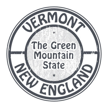 new england: Grunge rubber stamp with name of Vermont, New England
