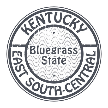 bluegrass: Grunge rubber stamp with name of Kentucky, East South-central