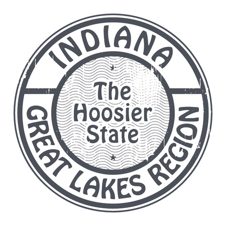 the great lakes: Grunge rubber stamp with name of Indiana, Great Lakes Region