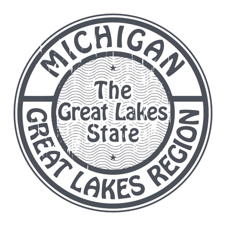 great lakes: Grunge rubber stamp with name of Michigan, Great Lakes Region