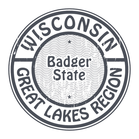 the great lakes: Grunge rubber stamp with name of Wisconsin, Great Lakes Region