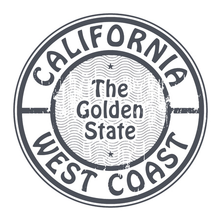 west coast: Grunge rubber stamp with name of California, West Coast