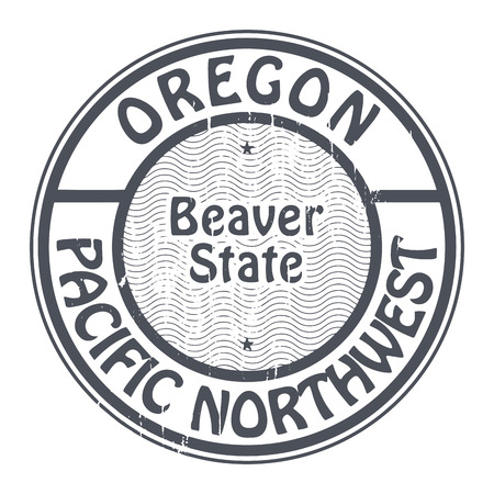 pacific northwest: Grunge rubber stamp with name of Oregon, Pacific Northwest