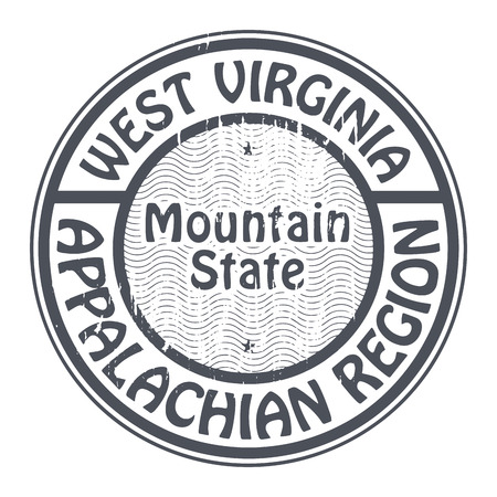 west virginia: Grunge rubber stamp with name of West Virginia, Appalachian Region Illustration