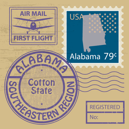 Grunge rubber stamp with name of Alabama Vector