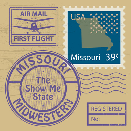 Grunge rubber stamp with name of Missouri Vector