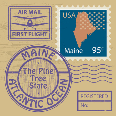 Grunge rubber stamp with name of Maine Vector