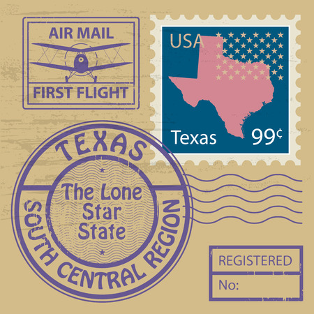 austin: Grunge rubber stamp set with name of Texas Illustration