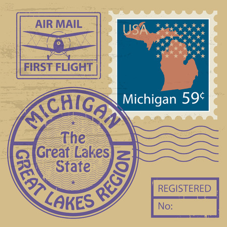 the great lakes: Grunge rubber stamp set with name of Michigan