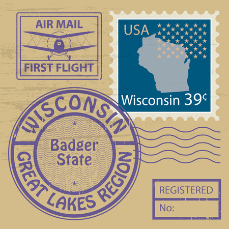 milwaukee: Grunge rubber stamp set with name of Wisconsin