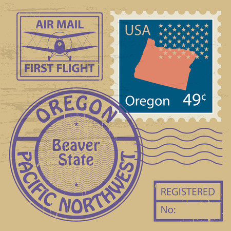 Grunge rubber stamp set with name of Oregon Stock Vector - 23352049