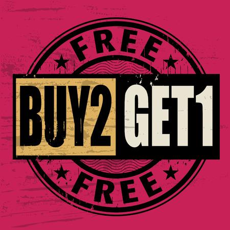 Abstract Grunge Stempel mit dem Text Buy 2 Get 1 Free innerhalb der Stempel geschrieben