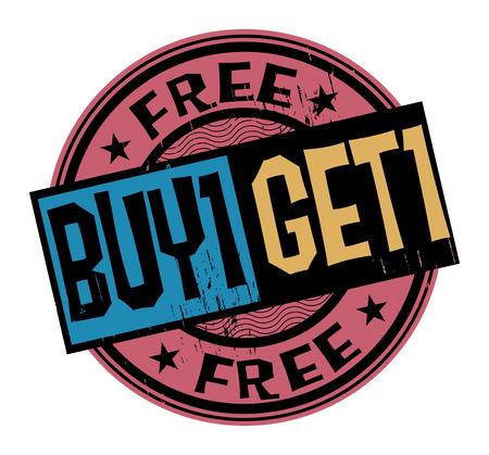 immagine gratuita: Grunge astratta timbro con il testo Buy 1 Get 1 gratis scritto all'interno del francobollo Vettoriali