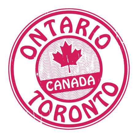 canada stamp: Grunge rubber stamp with name of Canada, Ontario and Toronto written inside the stamp Illustration