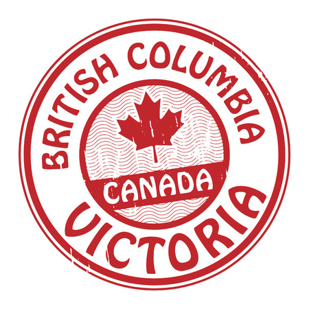 Grunge rubber stamp with name of Canada, British Columbia and Victoria written inside the stamp Vector