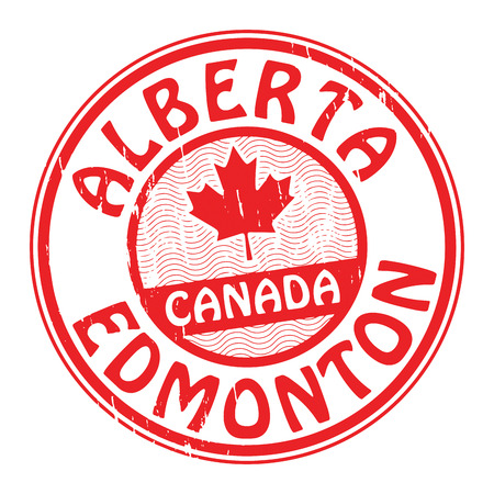 canada stamp: Grunge rubber stamp with name of Canada, Alberta and Edmonton written inside the stamp