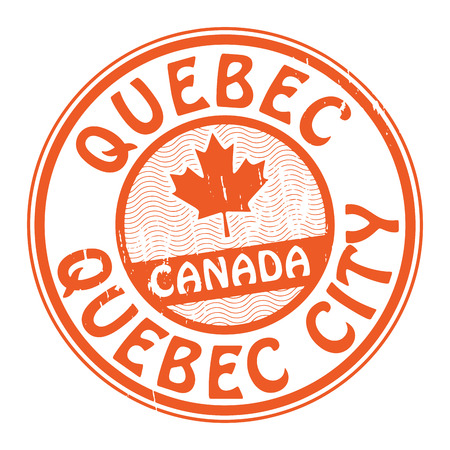 canada stamp: Grunge rubber stamp with name of Canada, Quebec and Quebec City written inside the stamp