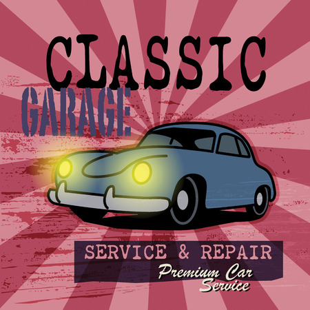 Retro car garage sign Vector