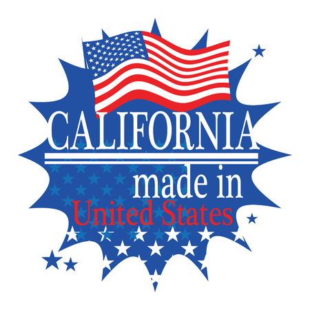 Label with flag and text Made in California Vector