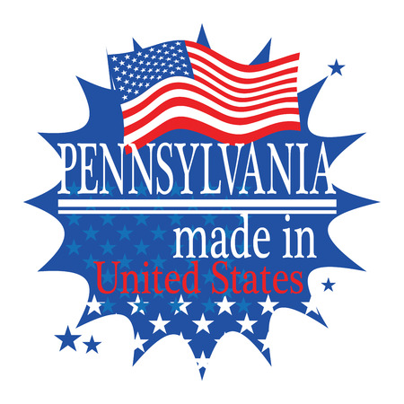 Label with flag and text Made in Pennsylvania Vector