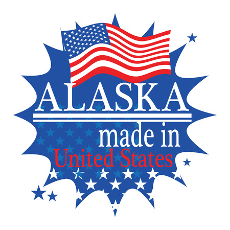 Label with flag and text Made in Alaska Vector