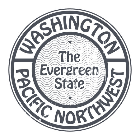 Grunge rubber stamp with name of Washington, Pacific Northwest