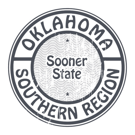 oklahoma: Grunge rubber stamp with name of Oklahoma, Southern Region