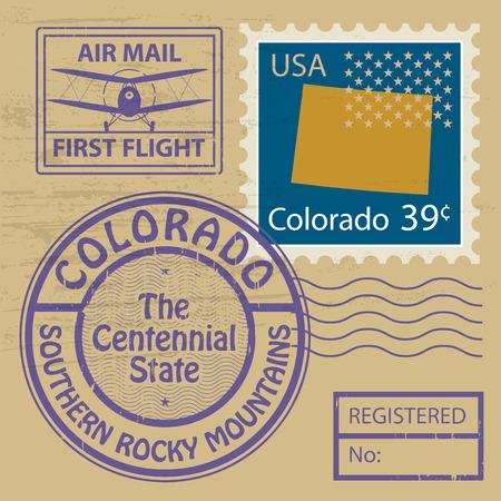 colorado rocky mountains: Grunge rubber stamp set with name of Colorado