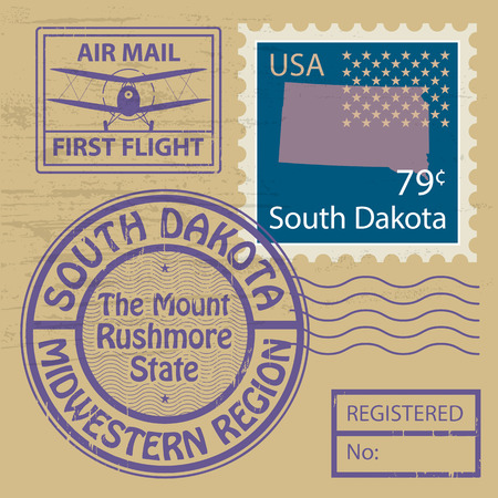 Grunge rubber stamp set with name of South Dakota Vector