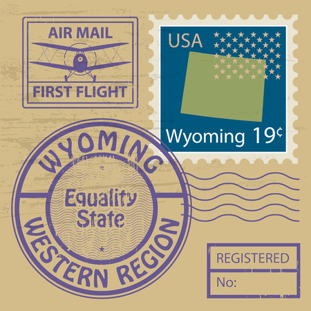 Grunge rubber stamp set with name of Wyoming Vector