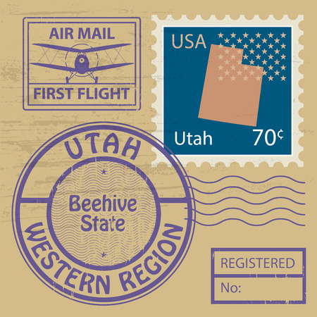 Grunge rubber stamp set with name of Utah Vector