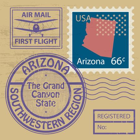 arizona: Grunge rubber stamp set with name of Arizona Illustration