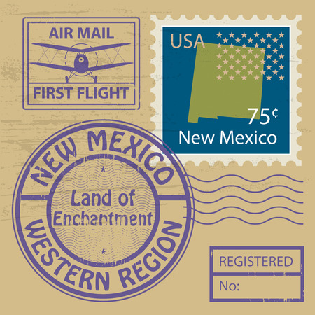 Grunge rubber stamp set with name of New Mexico Vector